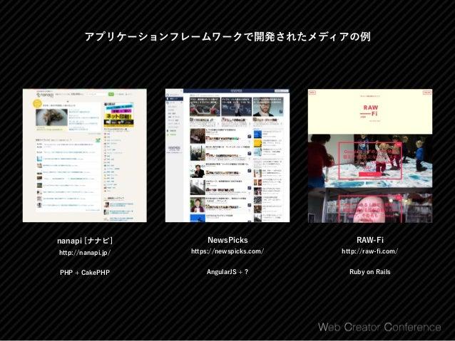 アプリケーションフレームワークで開発されたメディアの例 THE BRIDGE http://thebridge.jp/ Handlebars.js + WordPress iemo http://iemo.jp/ Ruby on Rails...