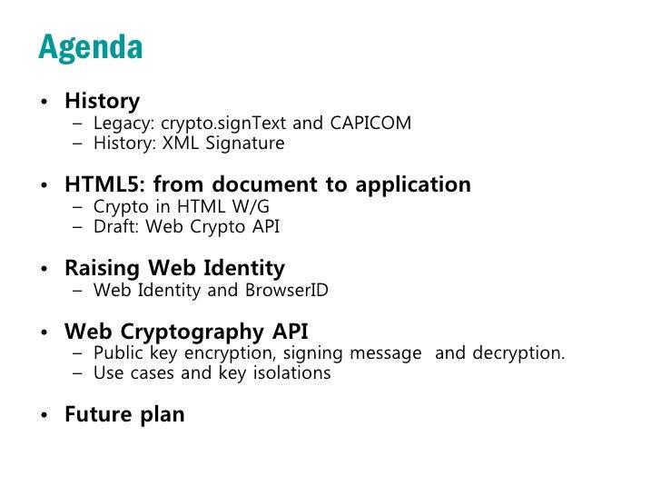 The History and Status of Web Crypto API (2012) Slide 3