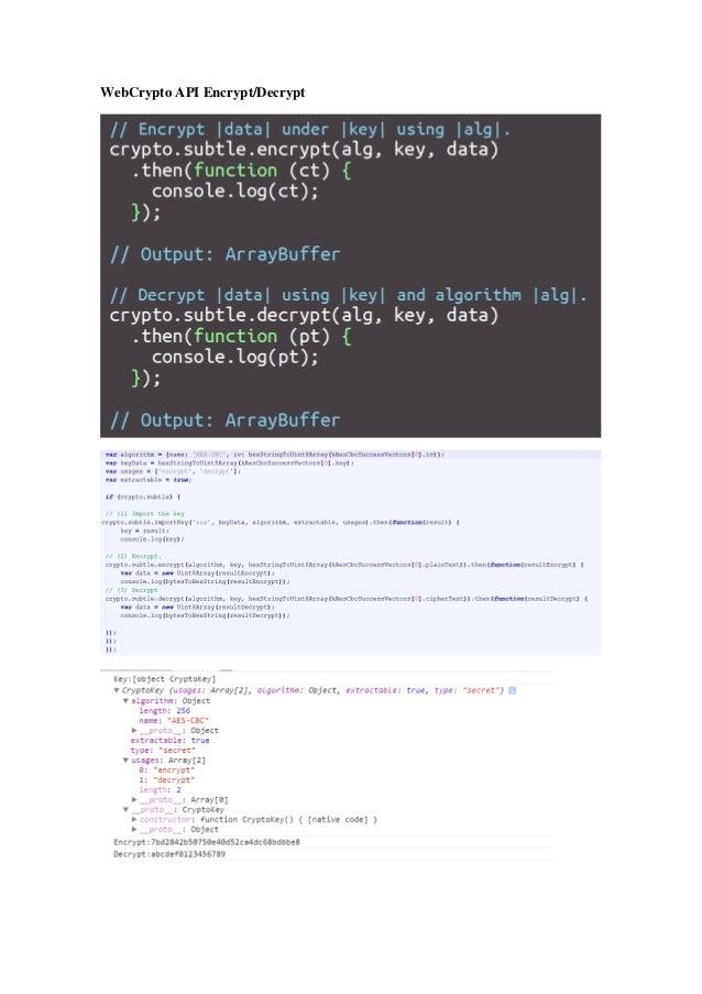 Web cryptography javascript