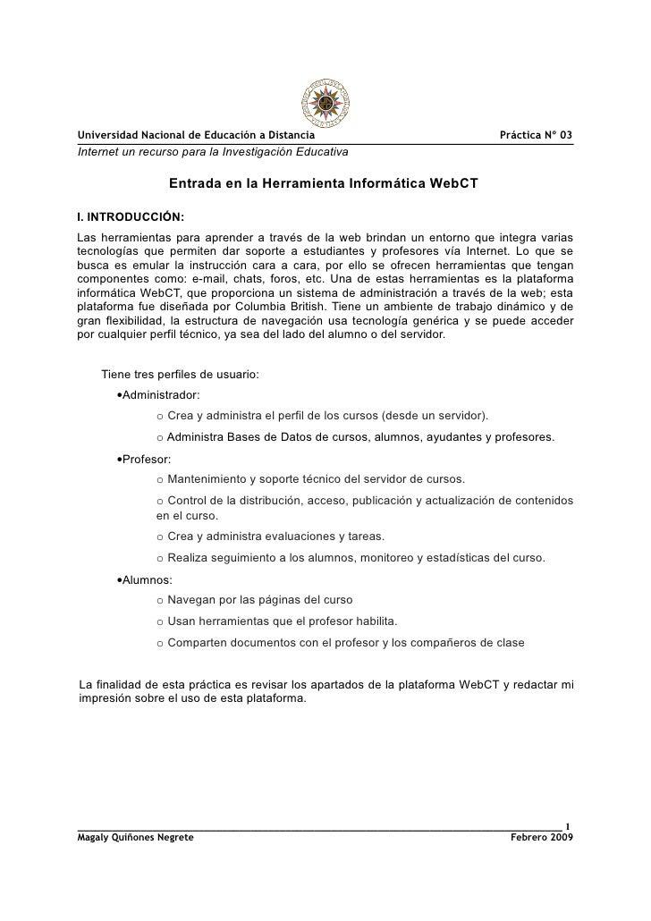 Universidad Nacional de Educación a Distancia                                    Práctica Nº 03 Internet un recurso para l...
