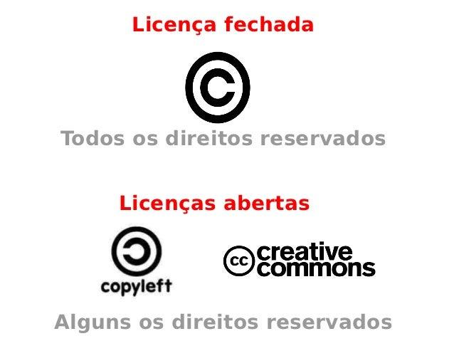 Licença fechadaTodos os direitos reservados     Licenças abertasAlguns os direitos reservados