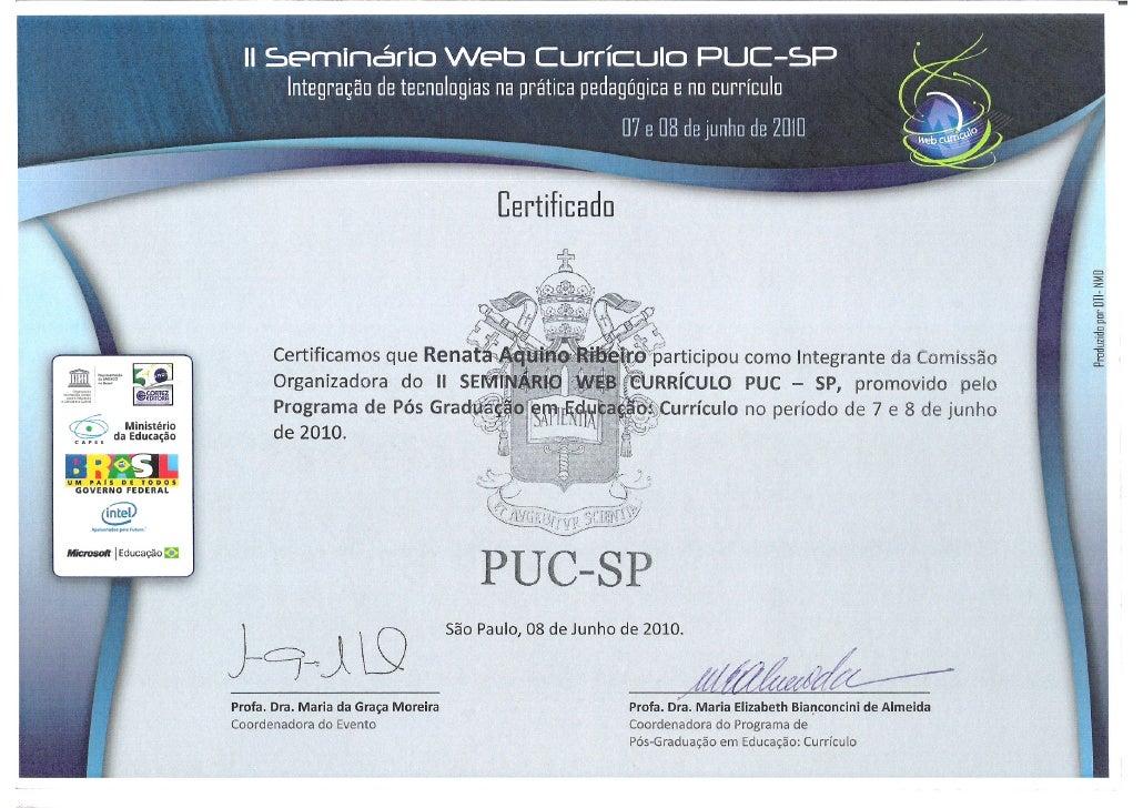 Certificado II Webcurriculo Comissao Organizadora