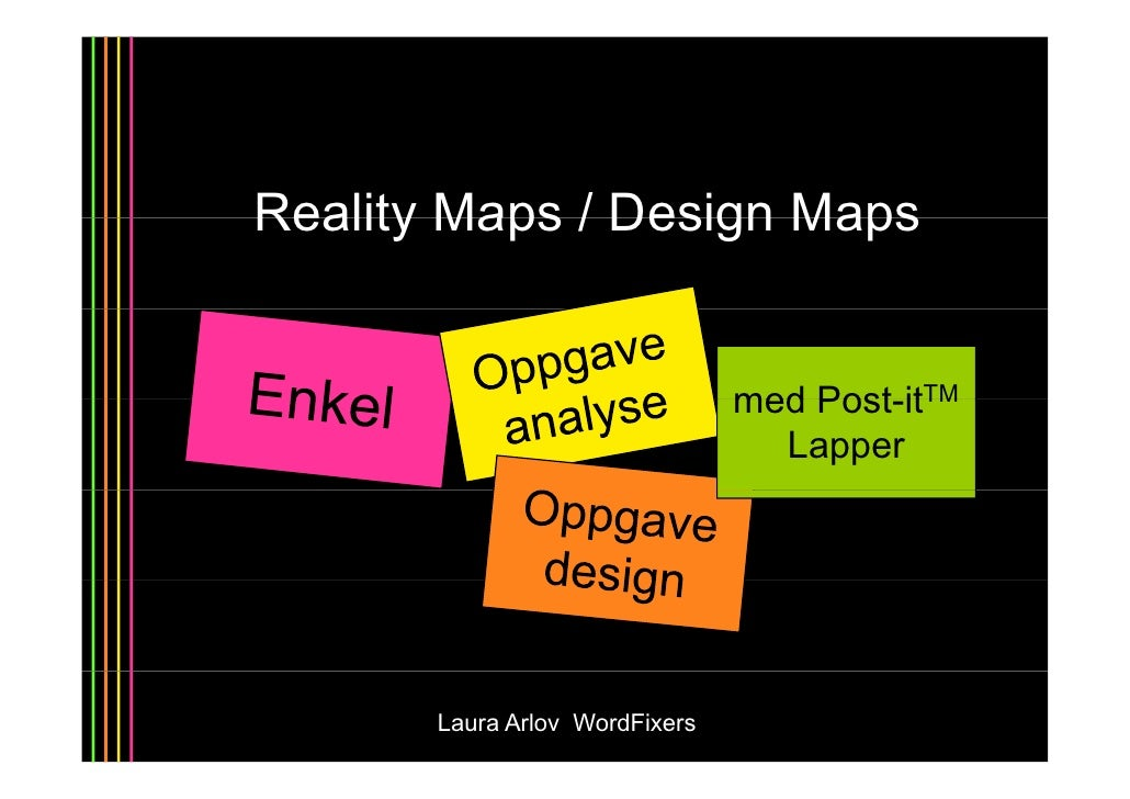Reality Maps / Design Maps                                   med Post-itTM                                     Post it    ...