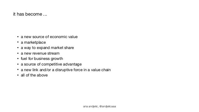 • a new source of economic value  • a marketplace  • a way to expand market share  • a new revenue stream  • fuel for busi...