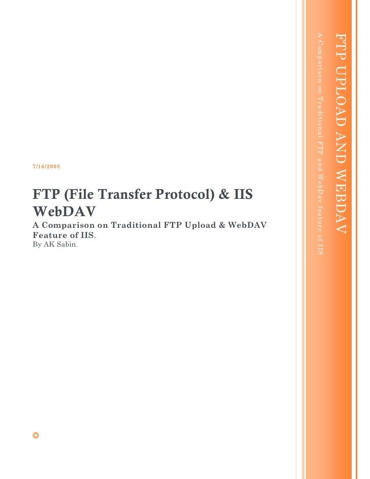 Traditional FTP uploads and WebDAV on IIS