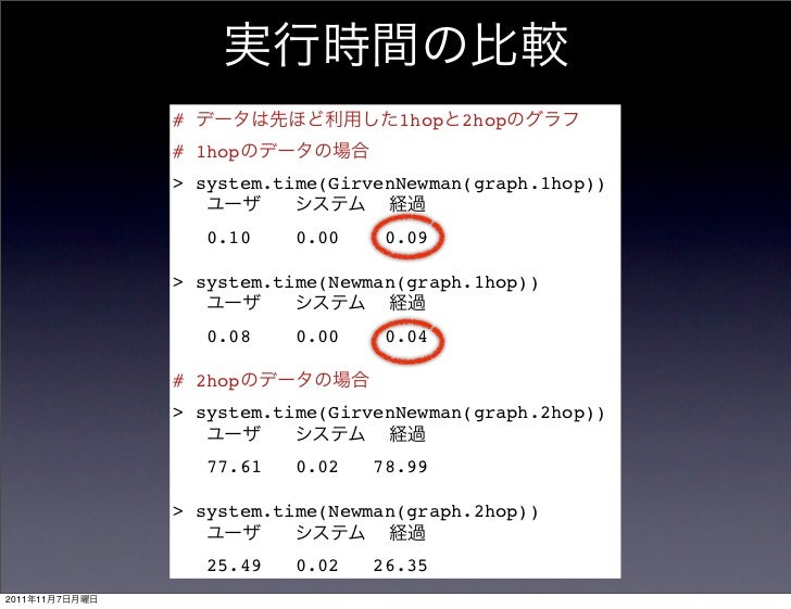 #                    1hop   2hop                # 1hop                > system.time(GirvenNewman(graph.1hop))             ...