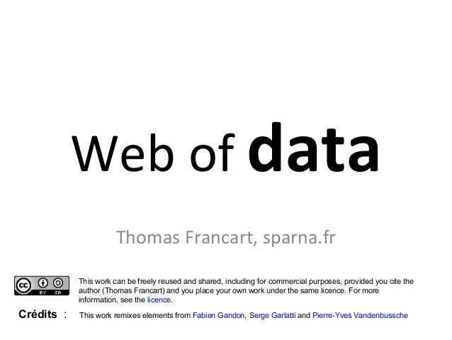 Web of data  Thomas Francart, sparna.fr  This work can be freely reused and shared, including for commercial purposes, pro...