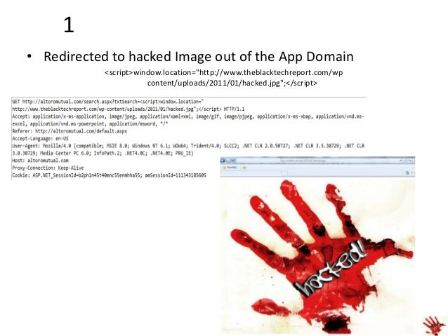 """2 • Adds a hacked image to the page <img src=""""http://www.theblacktechreport.com/wp-content/uploads/2011/01/hacked.jpg"""" one..."""
