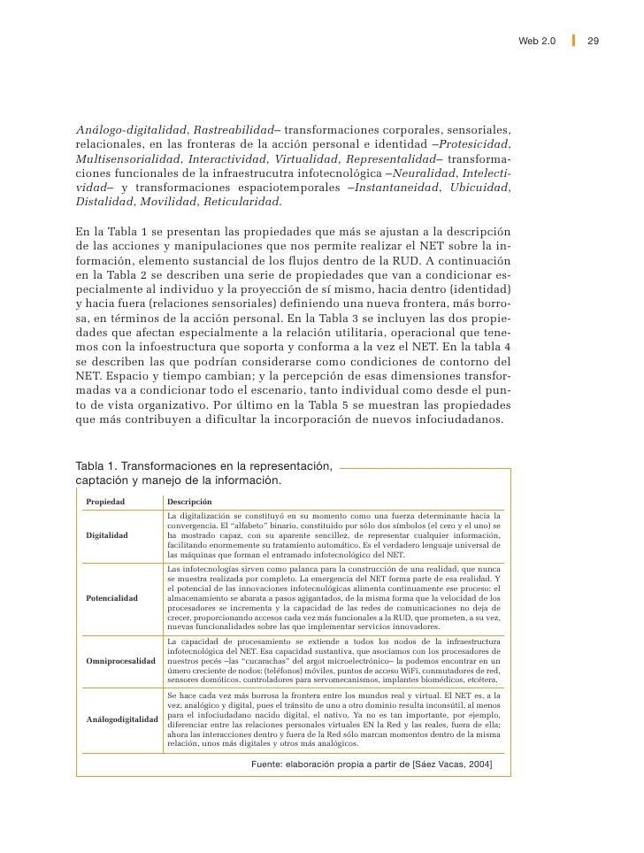30   Web 2.0                    Tabla 2. Transformaciones corporales, sensoriales, relacionales,                en las fro...