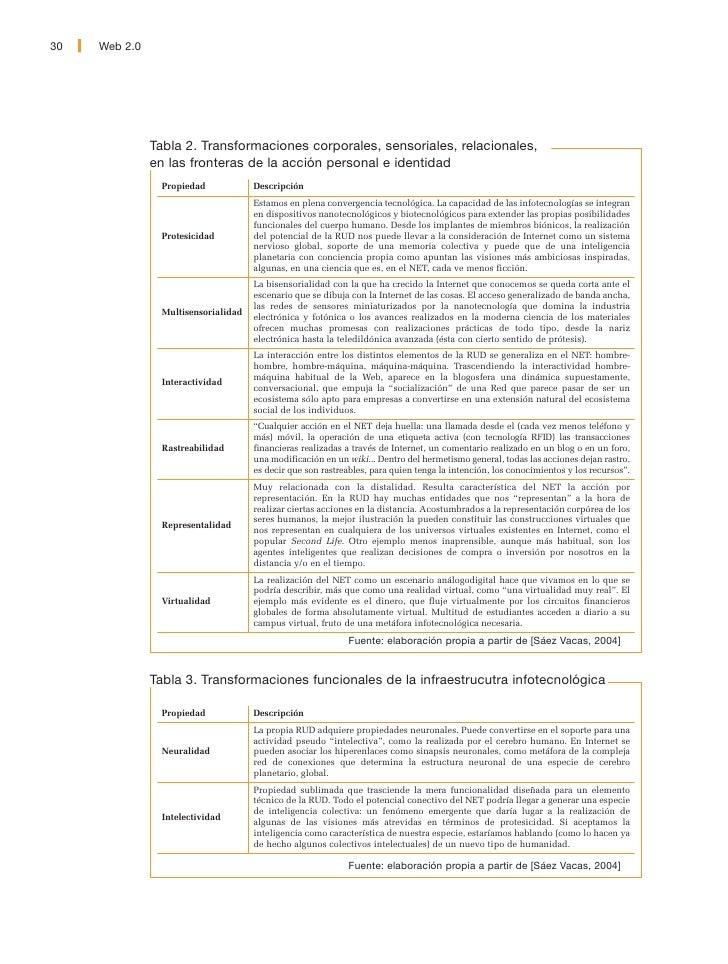 Web 2.0   31     Tabla 4. Transformaciones espaciotemporales  Propiedad        Descripción                   La acción/com...