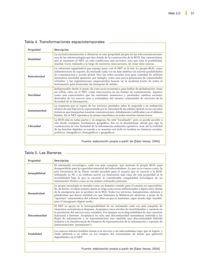 32   Web 2.0                    A continuación se hará hincapié en cómo algunas de las propiedades descritas              ...