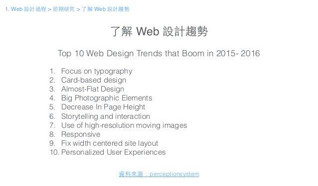 了解 Web 設計趨勢 1. Focus on typography 2. Card-based design 3. Almost-Flat Design 4. Big Photographic Elements 5. Decrease In ...