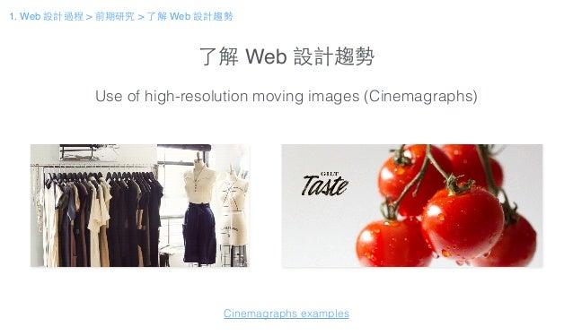 了解 Web 設計趨勢 Use of high-resolution moving images (Cinemagraphs) Cinemagraphs examples 1. Web 設計過程 > 前期研究 > 了解 Web 設計趨勢