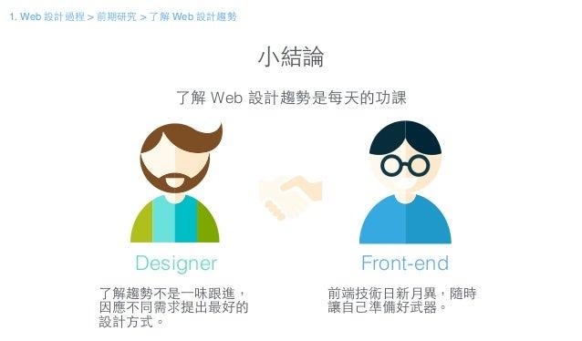 ⼩小結論 了解 Web 設計趨勢是每天的功課 了解趨勢不是⼀一味跟進, 因應不同需求提出最好的 設計⽅方式。 前端技術⽇日新⽉月異,隨時 讓⾃自⼰己準備好武器。 Designer Front-end 1. Web 設計過程 > 前期研究 > 了...