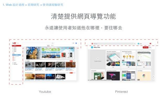清楚提供網⾴頁導覽功能 永遠讓使⽤用者知道他在哪裡,要往哪去 Youtube Pinterest 1. Web 設計過程 > 前期研究 > 使⽤用者經驗研究