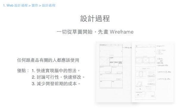 設計過程 ⼀一切從草圖開始,先畫 Wireframe 任何跟產品有關的⼈人都應該使⽤用! ! 優點: 1. 快速實現腦中的想法。! 2. 討論可⾏行性,快速修改。! 3. 減少開發前期的成本。 1. Web 設計過程 > 實作 > 設計過程