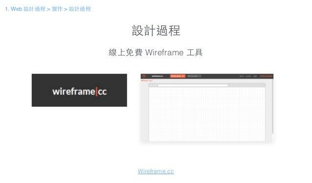 設計過程 線上免費 Wireframe ⼯工具 Wireframe.cc 1. Web 設計過程 > 實作 > 設計過程