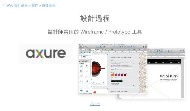 設計過程 設計師常⽤用的 Wireframe / Prototype ⼯工具 Axure 1. Web 設計過程 > 實作 > 設計過程