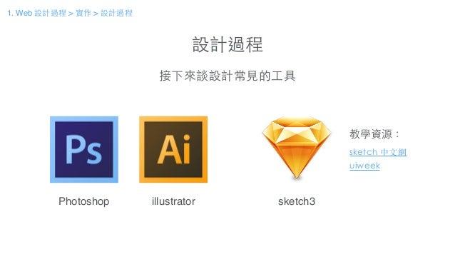 設計過程 接下來談設計常⾒見的⼯工具 Photoshop illustrator sketch3 uiweek 教學資源: sketch 中⽂文網 1. Web 設計過程 > 實作 > 設計過程