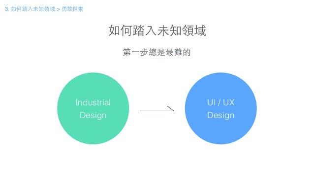 如何踏⼊入未知領域 3. 如何踏⼊入未知領域 > 勇敢探索 Industrial Design 概念設計 UI / UX Design 第⼀一步總是最難的