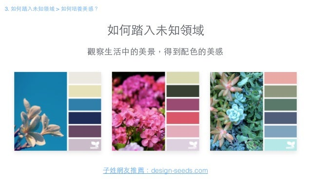 如何踏⼊入未知領域 3. 如何踏⼊入未知領域 > 如何培養美感? ⼦子姓網友推薦:design-seeds.com 觀察⽣生活中的美景,得到配⾊色的美感