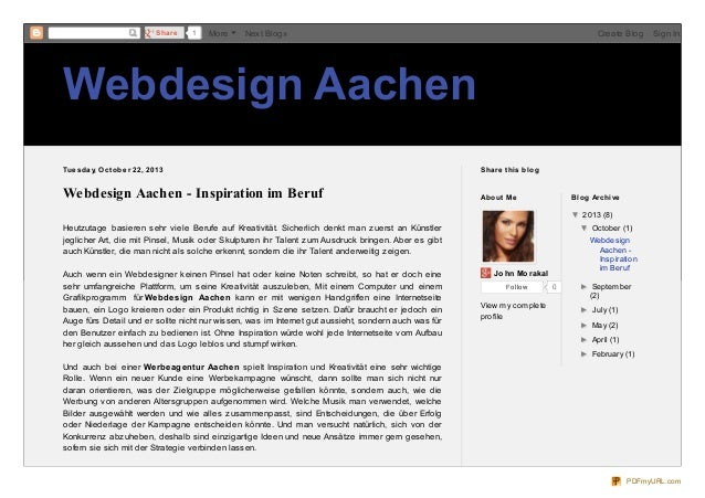 Share  1  More  Next Blog»  Create Blog  Sign In  Webdesign Aachen Tue sd ay, O ct o b e r 22, 2013  Share t his b lo g  W...