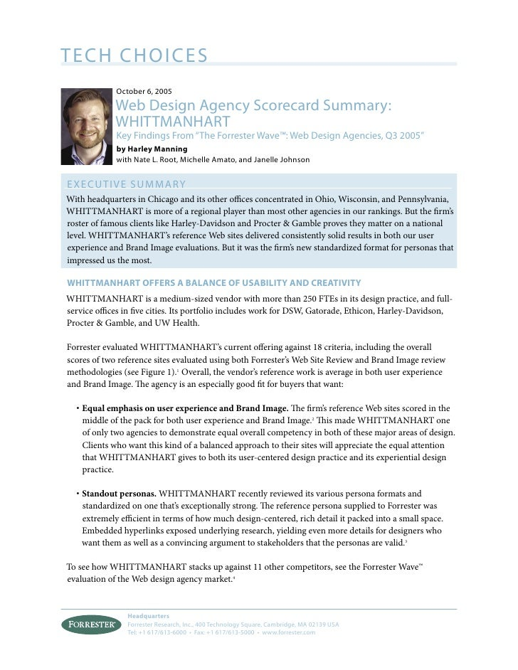TECH CHOICES              October 6, 2005              Web Design Agency Scorecard Summary:              WHITTMANHART     ...