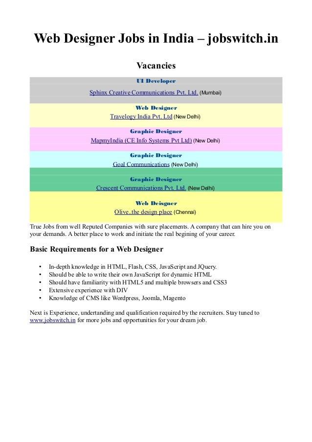 Web Designer Job Description India