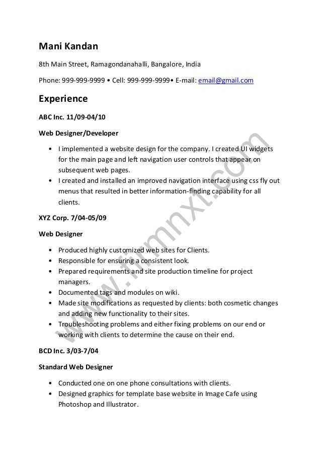 web designer sample resumes