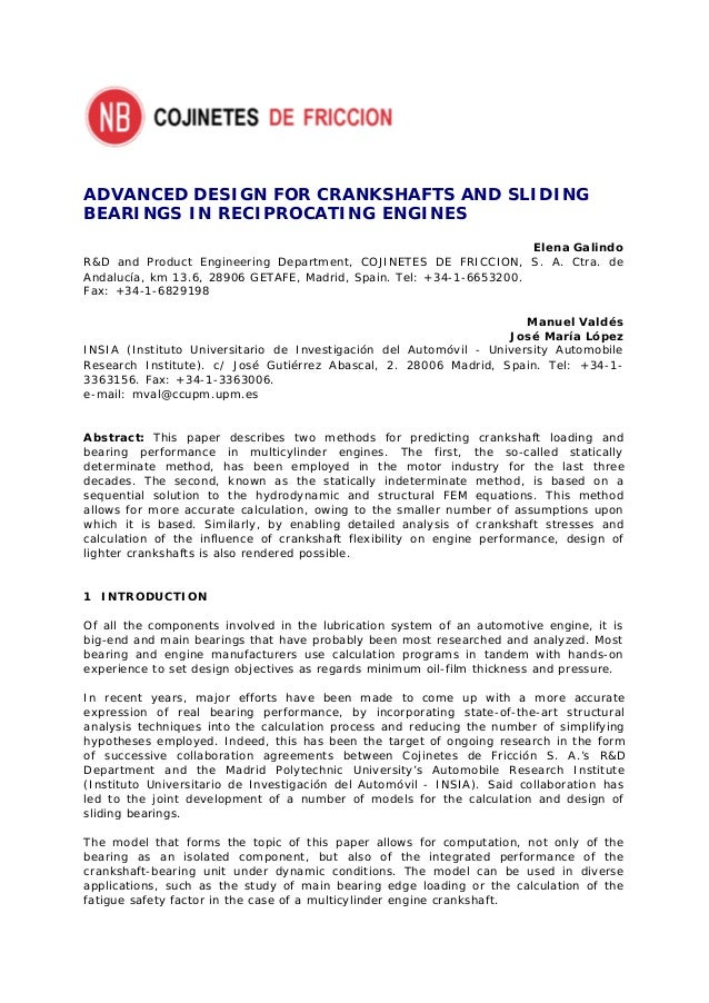 ADVANCED DESIGN FOR CRANKSHAFTS AND SLIDINGBEARINGS IN RECIPROCATING ENGINES                                              ...