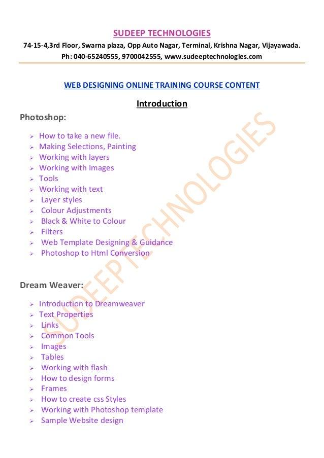 online webdesigining course training from hyderabad-INDIA