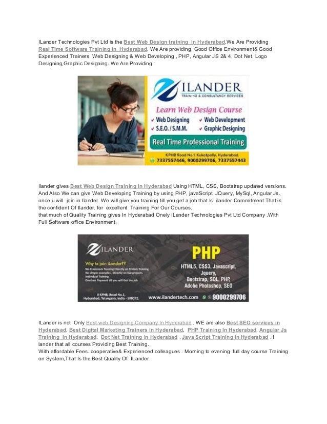 Ilander Web Designing Development Software Training In Hyderabad