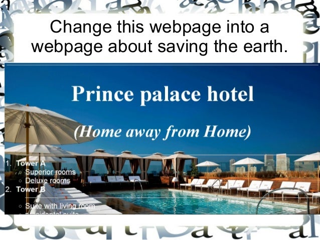 Change this webpage into a webpage about saving the earth.