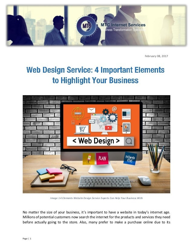 Web Design Service 4 Important Elements to Highlight Your Business