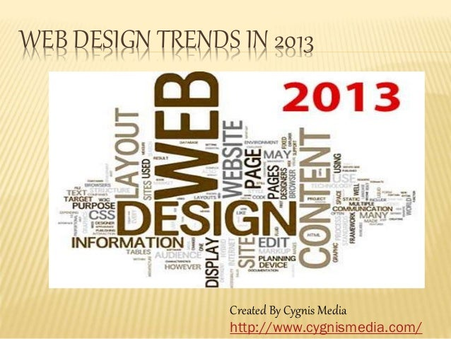 WEB DESIGN TRENDS IN 2013 Created By Cygnis Media http://www.cygnismedia.com/