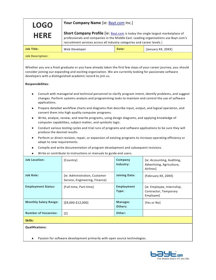Web Developer Job Description Template by Bayt.com