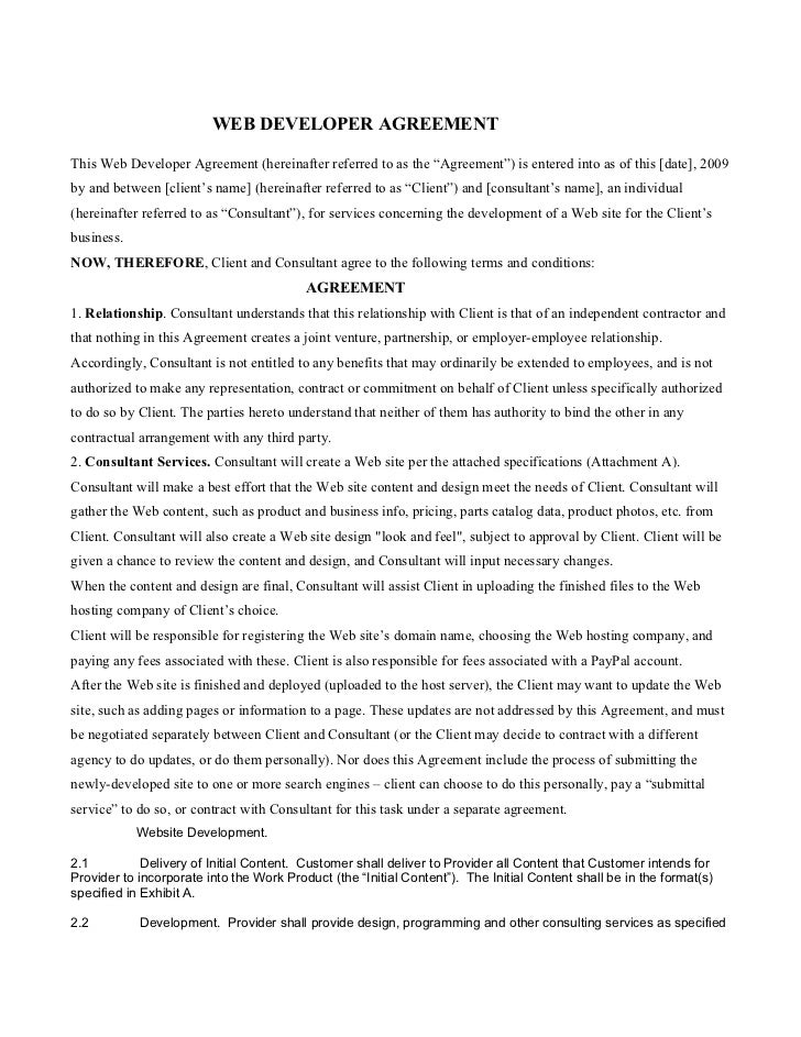 """WEB DEVELOPER AGREEMENTThis Web Developer Agreement (hereinafter referred to as the """"Agreement"""") is entered into as of thi..."""