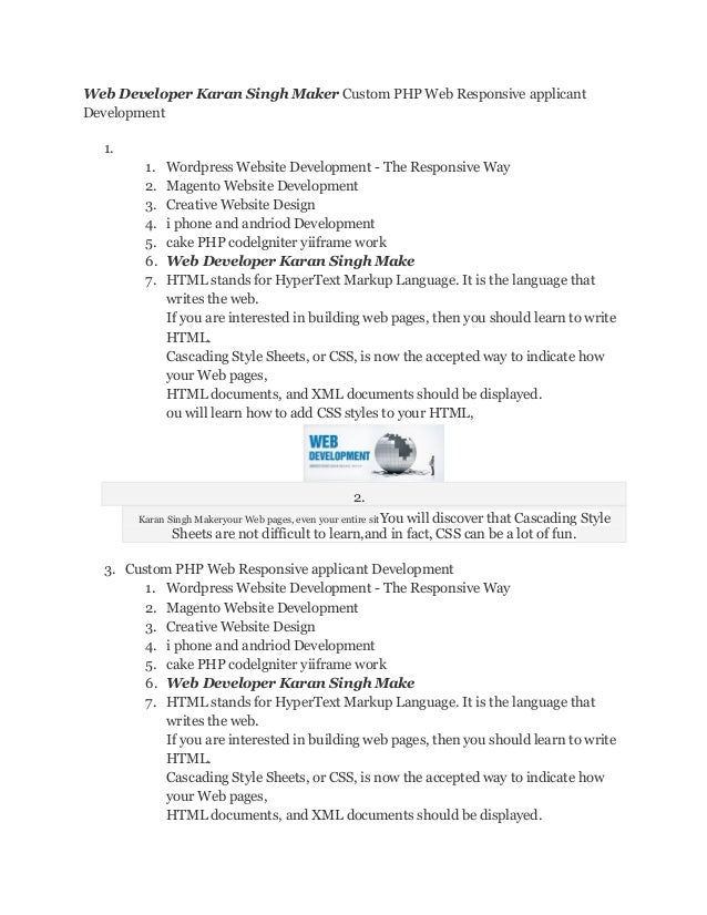 Web Developer Karan Singh Maker Custom PHP Web Responsive applicant Development 1. 1. Wordpress Website Development - The ...
