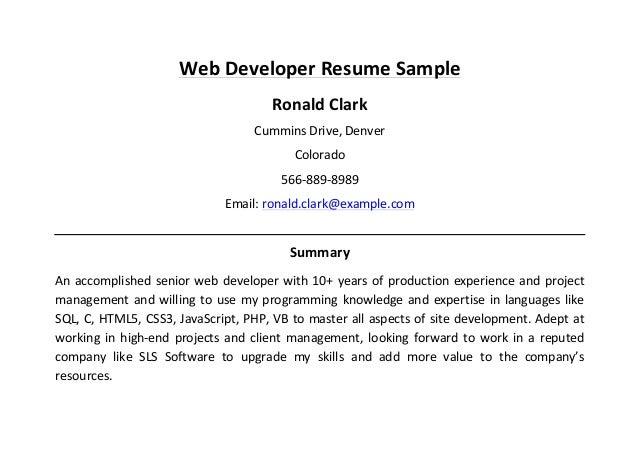 Web Developer Resume ...