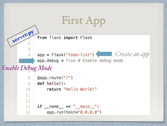 First App  Create an app  server.py  Enable Debug Mode