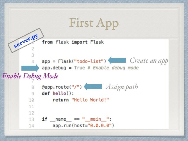 First App  Create an app  Assign path  server.py  Enable Debug Mode