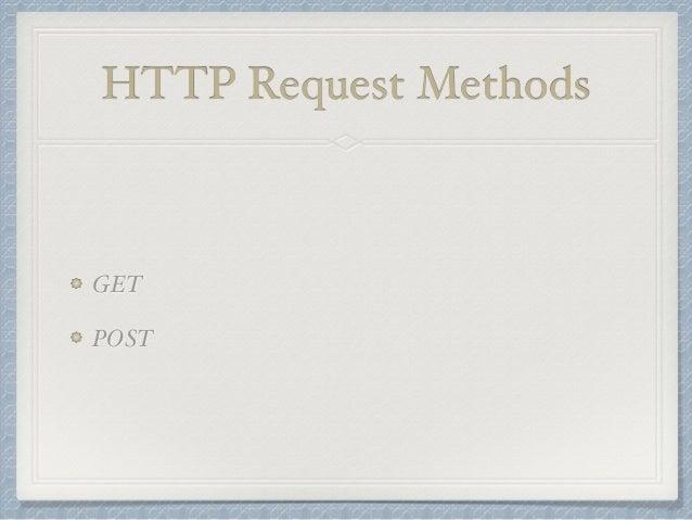 HTTP Request Methods  GET  POST