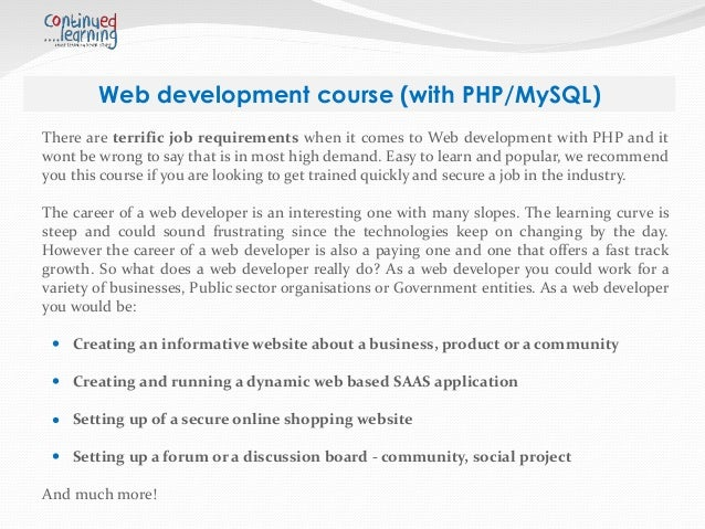 web development course 2018-6-11 web application development: basic concepts from university of new mexico this is the first course in a coursera specialization track involving web application architectures.