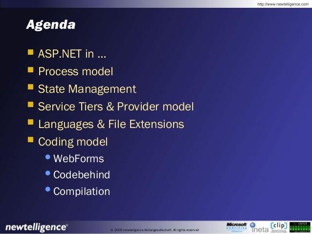 © 2005 newtelligence Aktiengesellschaft. All rights reserved Agenda  ASP.NET in …  Process model  State Management  Se...