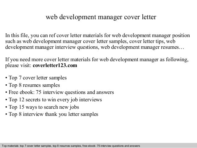 Web Development Manager Cover Letter In This File, You Can Ref Cover Letter  Materials For ...