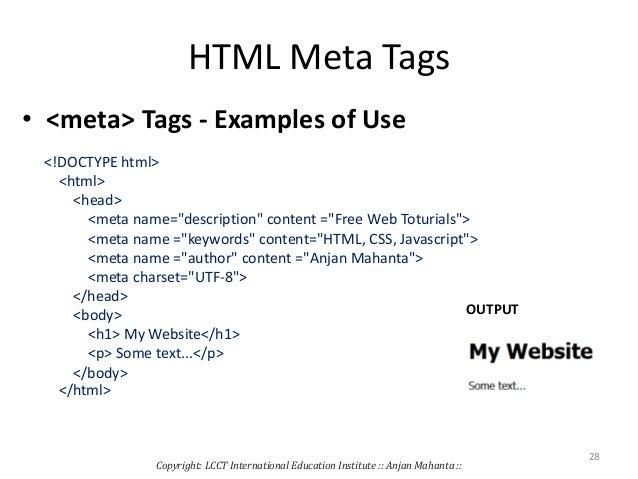 Basic html tags.