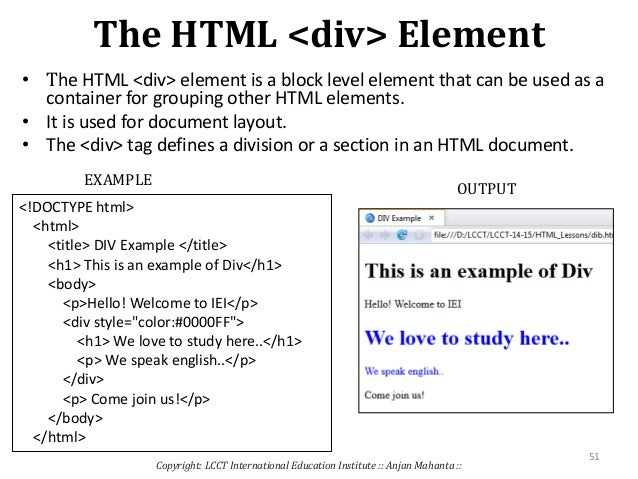 Web development using html 5 - Div tag in html ...