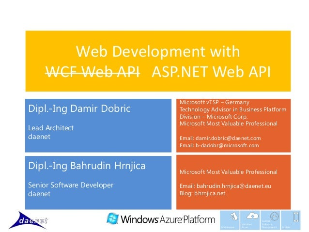 Web Development with     WCF Web API ASP.NET Web API                             Microsoft vTSP – GermanyDipl.-Ing Damir D...