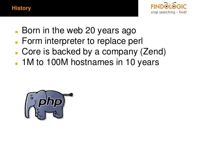 History  ◼ ◼  ◼ ◼  Born in the web 20 years ago Form interpreter to replace perl Core is backed by a company (Zend) 1M to ...
