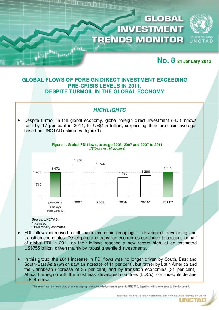 No. 8 24 January 2012  GLOBAL FLOWS OF FOREIGN DIRECT INVESTMENT EXCEEDING                PRE-CRISIS LEVELS IN 2011,      ...